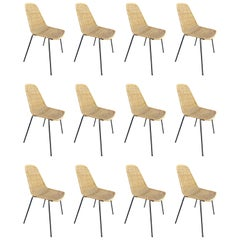 Huge Set of 12 Campo and Graffi Wicker Chair, circa 1960