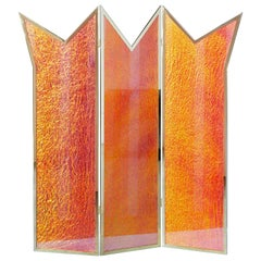 Contemporary Brass Room Divider Made With Dichroic Glass