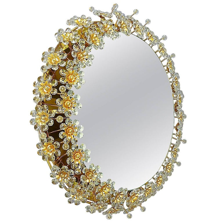 Round Gilt Faceted Crystal Glass Flower Backlit Mirror by Palwa, Germany For Sale