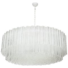 "Large Italian Venini Mid-Century Modern Clear Murano Glass ""Tronchi"" Chandelier"