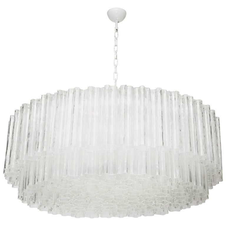 "Large Italian Venini Mid-Century Modern Clear Murano Glass ""Tronchi"" Chandelier For Sale"