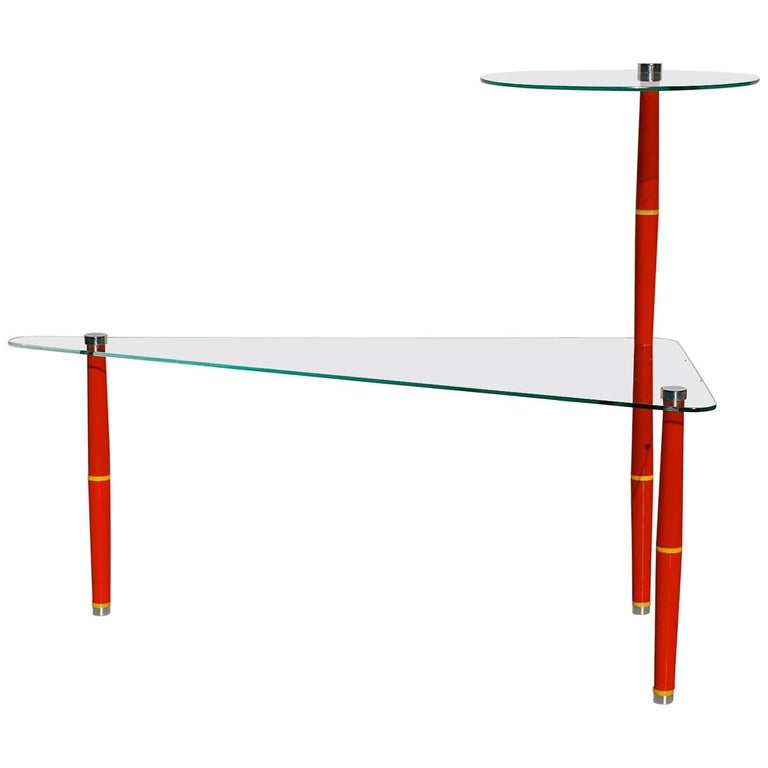 Mid century modern console display table with marble for Bright colored side tables