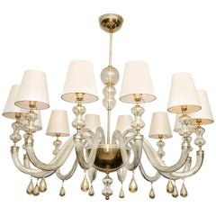 Modernist Italian Murano Gold Glass Chandelier in the Manner of Seguso