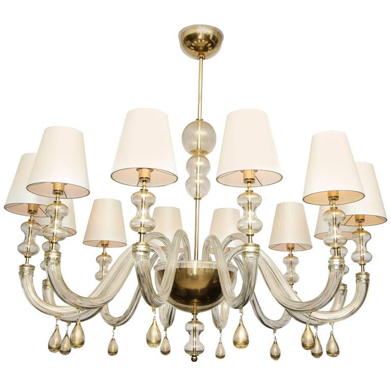 Modernist Italian Murano Gold Glass Chandelier in the Manner of Seguso 1