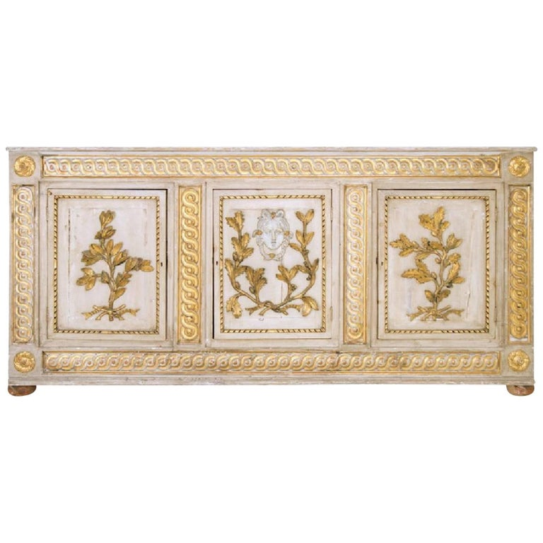 Period 18th Century Italian Neoclassical Sideboard Cabinet, Original Parcel-Gilt