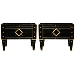 One of a Kind Signed Pair of Black Glass and Brass Commodes or Nightstands
