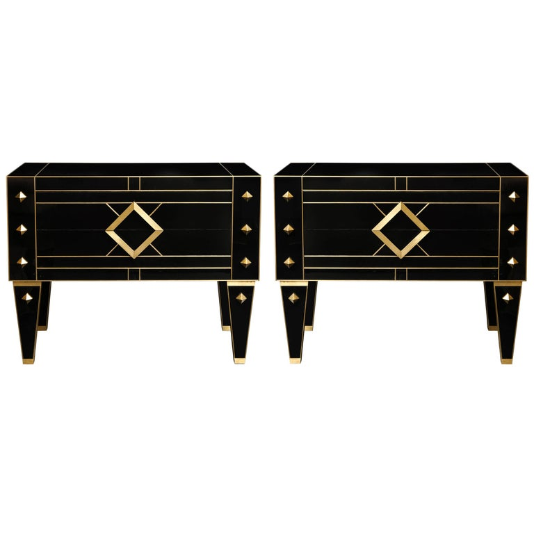 One of a Kind Signed Pair of Black Glass and Brass Commodes or Nightstands 1