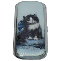 Antique Silver and Enamel Kitty Cat Cigarette Case