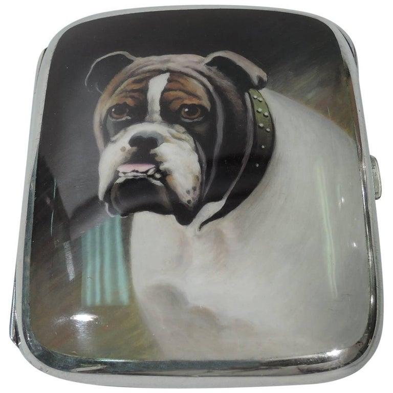 European Silver and Enamel Cigarette Case with Bulldog