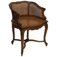 Carved Walnut Vanity Dressing Table Bergere Chair, French, circa 1900