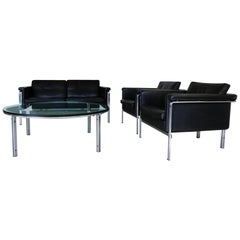 Horst Bruning Living Room Set in Black Leather with Coffee Table