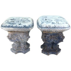 Blue and White Painted Garden Stools