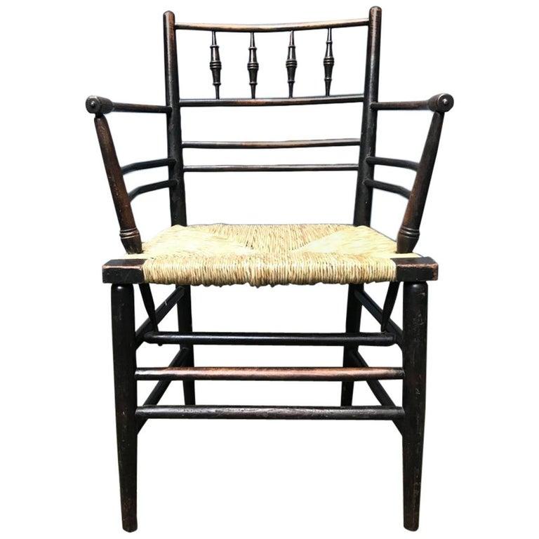 William Morris, Twelve Classic Arts & Crafts Ebonised Rush Seat Sussex Armchairs For Sale