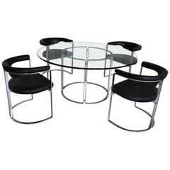 German Superb Design Dinner Set with Large Thick Glass Dining Table
