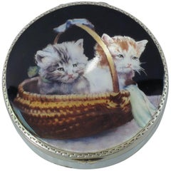Antique Cats in a Basket Compact in Silver Gilt and Enamel