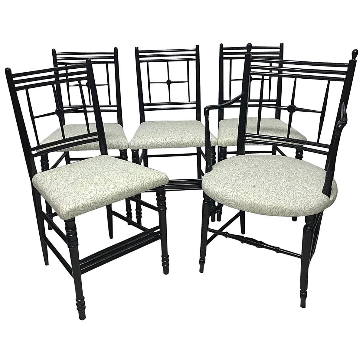 Morris & Co Ford Maddox Brown A set of five Arts & Crafts Ebonized Sussex Chairs