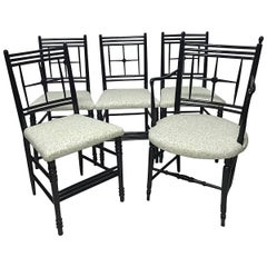 Morris & Co 5 Arts & Crafts Ebonized Sussex Chairs Designed by Ford Maddox Brown