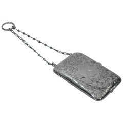 American Edwardian Sterling Silver Compact Purse with Wrist Chain