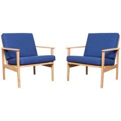 Pair of Mid-Century Modern Low Back Wood Framed Lounge Chairs