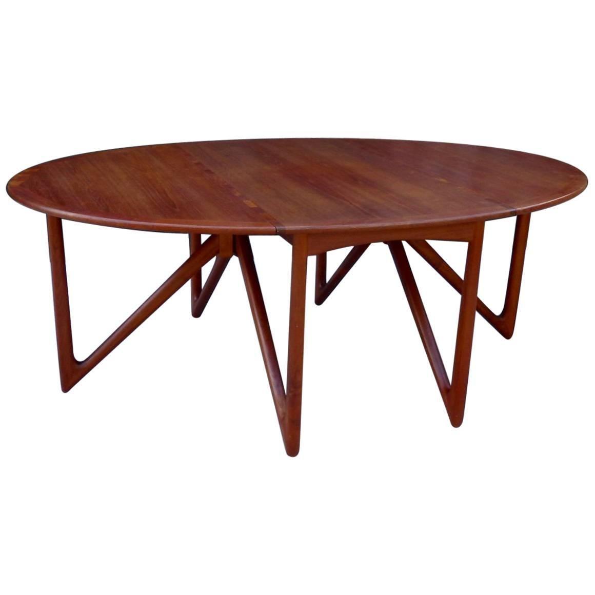 Kurt Ostervig Danish Teak Drop Leaf Dining Table