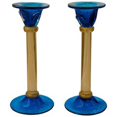 Luxury Pair of Candlesticks, Romano Dona, Masaccio, Cobalt Gold Leaf, Murano