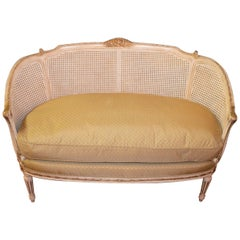 Louis XVI Style Painted and Gilt, Caned Back Settee, Dawn and Feather Cushion