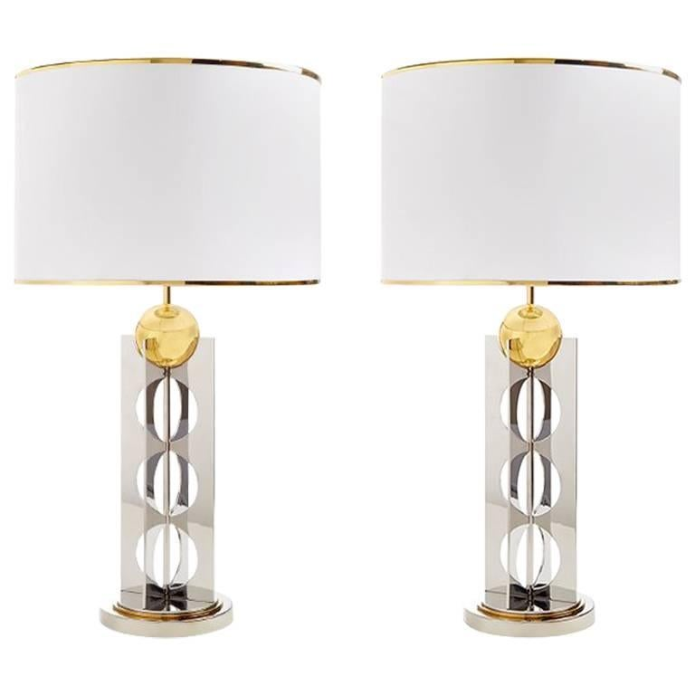 Berlin Brass And Stainless Steel Table Lamp For Sale