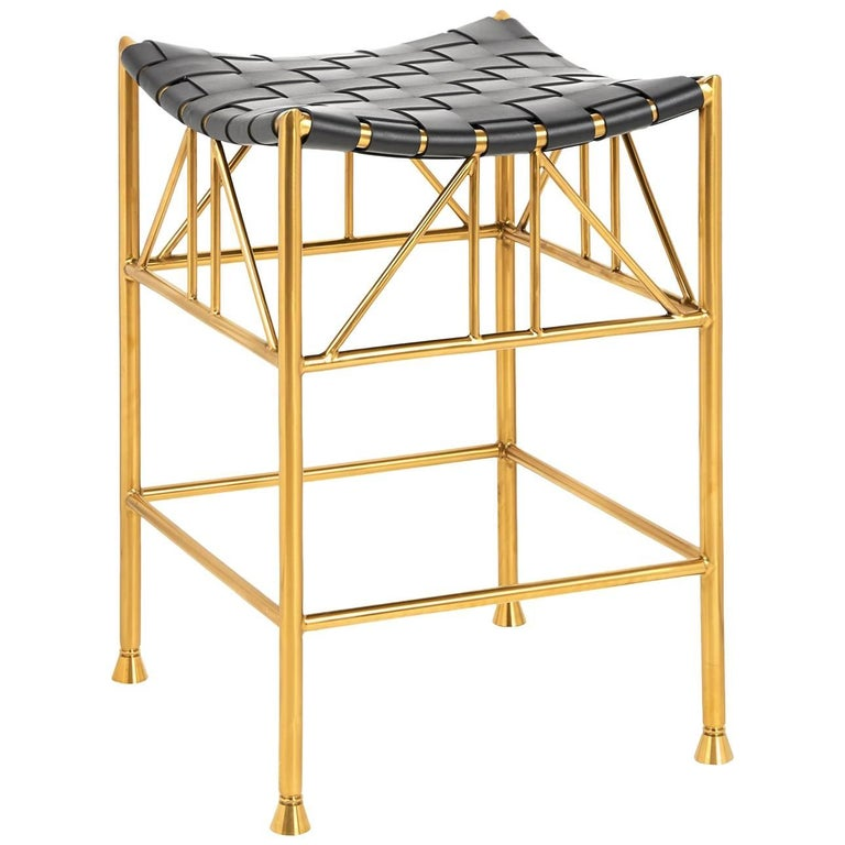 Thebes Leather And Brass Counter Stool At 1stdibs