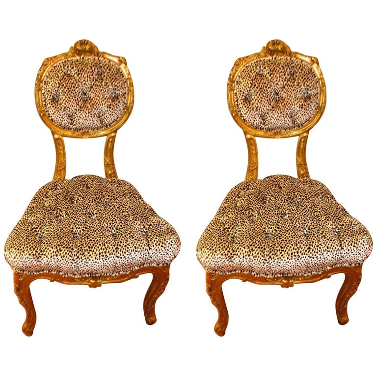 Pair of Louis XV Style Gilded Side Chairs, Upholstered in Leopard Type Fabric For Sale