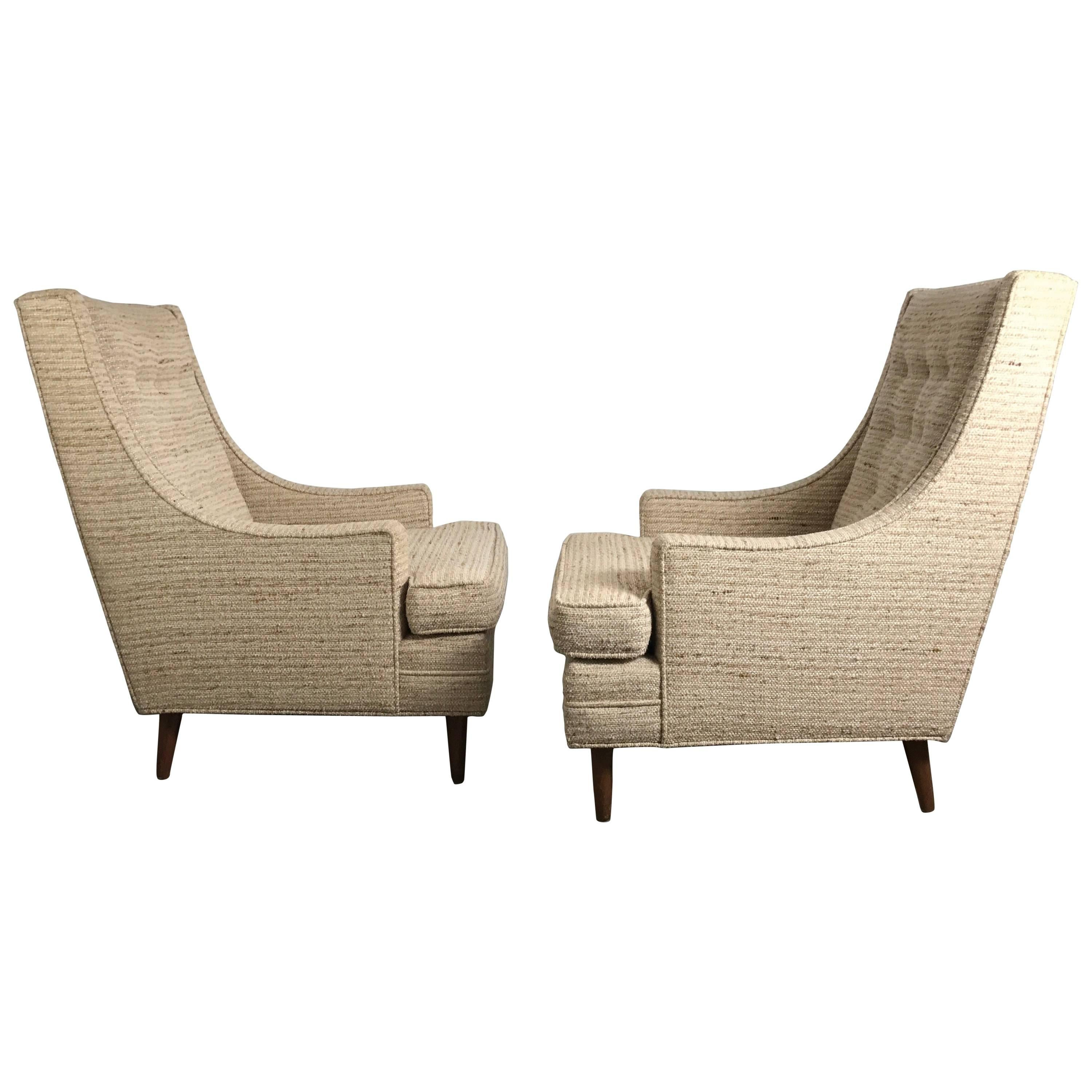 Classic Mid-Century Modern Highback Lounge Chairs after Harvey Probber