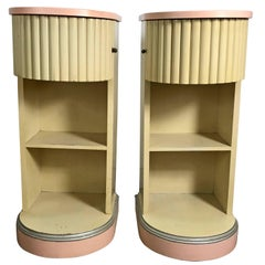 """American Art Deco """"Doric"""" Lacquered Nightstands by Kittinger"""