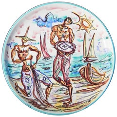 """Fishermen,"" Rare Midcentury Plate with Fishermen by Società Anonima Marina"