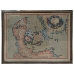 17th Century Map of Denmark by French Cartographer Sanson, Dated 1658
