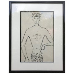 Serge Matta Faun Drawing Pen and Ink Wash, Chilean, circa 1960s