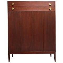 Midcentury Walnut and Brass Gentleman's Chest after Paul McCobb