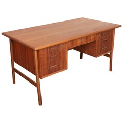 Danish Midcentury Teak Floating Frame Desk