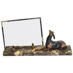 Art Deco Marble Photo Frame with Deer Reindeer