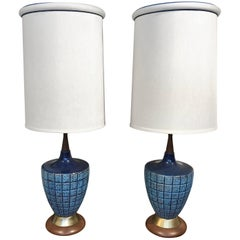Vintage Blue Ceramic Lamps with Their Original Shades