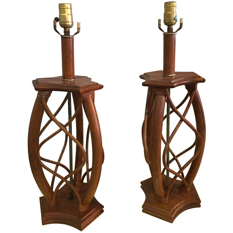 Pair of Rattan Table Wood Lamps Mid-Century Modern, Vintage