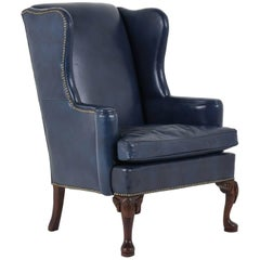 Regency-Style Wingback Leather Chair