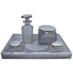 Hawkes Sterling Silver and Cut-Glass Vanity Set on Tray