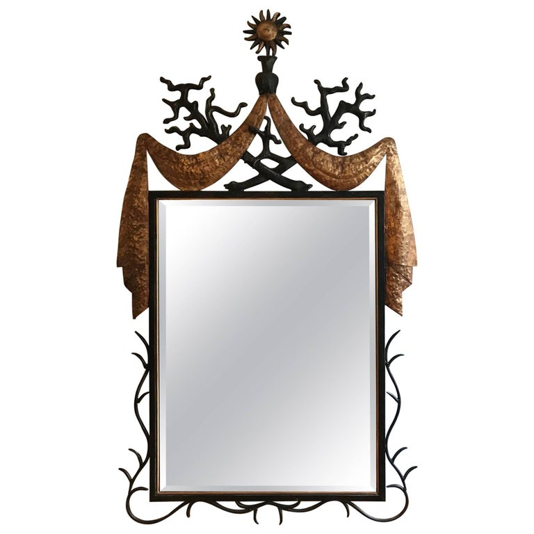 Iron, Gilded Metal and Resin Large Mirror after a Design by Gilbert Poillerat