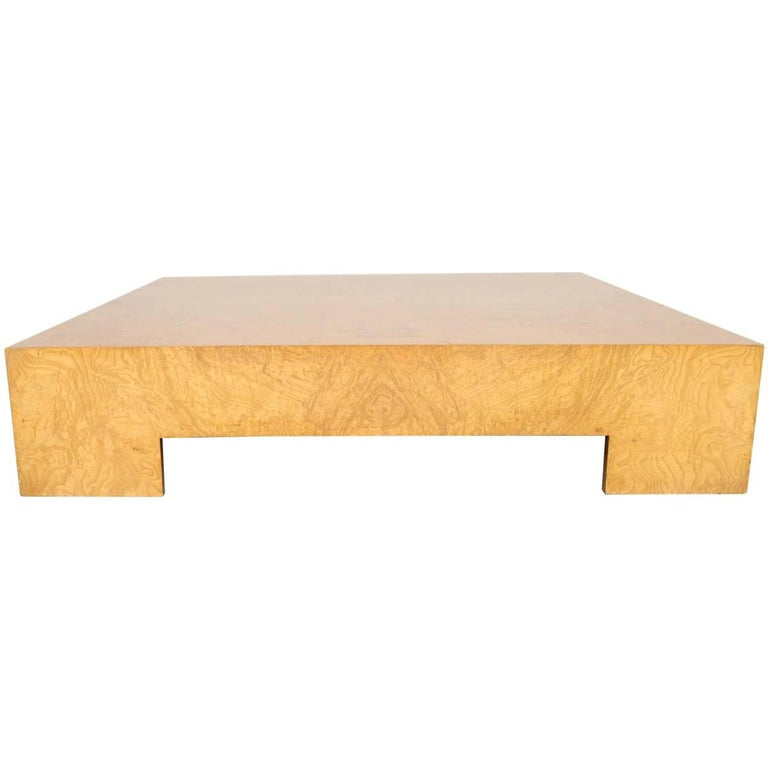 Milo baughman burl wood midcentury low coffee table for for Low coffee table wood