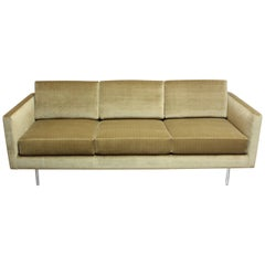 1960s Three-Seat Directional Sofa in Sage Velvet