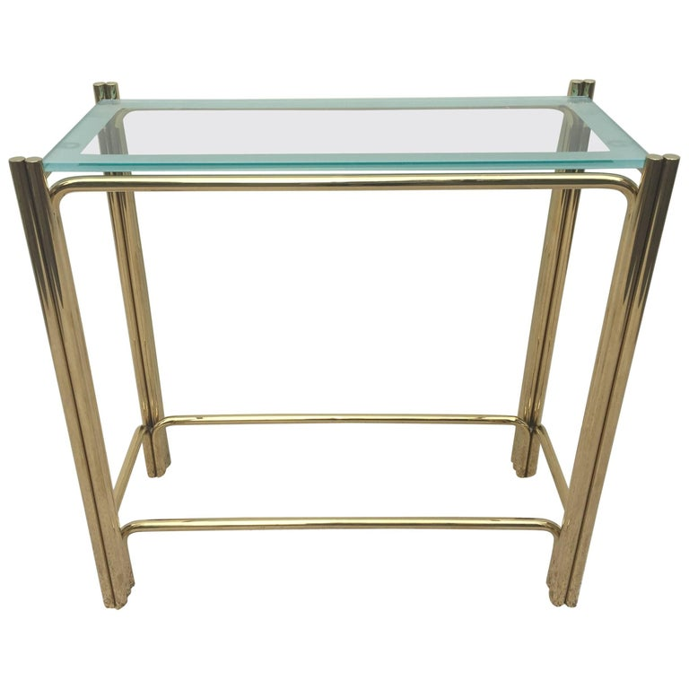 Pair of Pace Solid Brass Glass Top Consoles or Sofa Tables