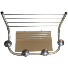 Art Deco Polished Aluminium German Coat Hat Wall Rack Stand