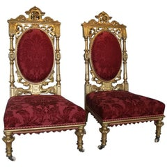 19th Century Pair of Aesthetic Movement Carved Wood and Gilt Chairs