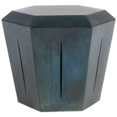 Hedra 14S, Steel Stool or Table in Deep Blue Patina by Topher Gent