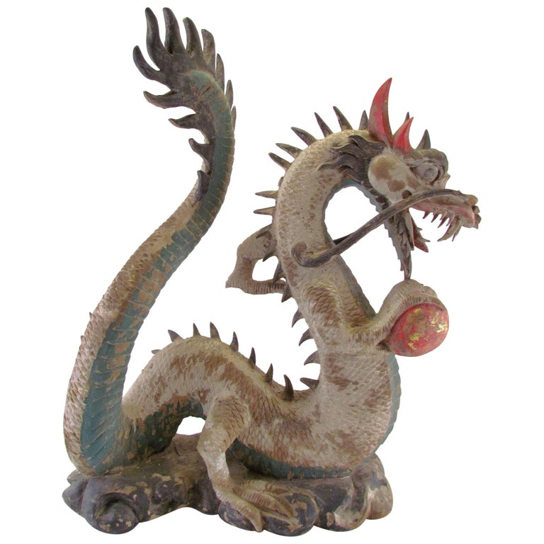 Antique 19th Century Polychrome Carved Chinese Dragon with Pearl