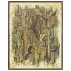 Midcentury Abstract Oil Signed Laurel, circa 1960s